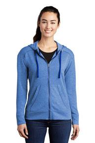 Sport-Tek  ®  Ladies PosiCharge  ®  Tri-Blend Wicking Fleece Full-Zip Hooded Jacket LST293