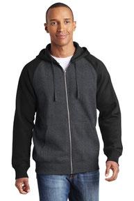 Sport-Tek ®  Raglan Colorblock Full-Zip Hooded Fleece Jacket.  ST269