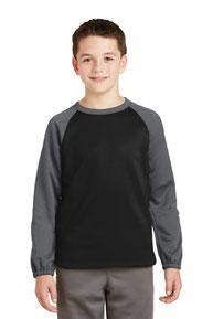 DISCONTINUED  Sport-Tek ®  Youth Sport-Wick ®  Raglan Colorblock Fleece Crewneck. YST242